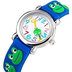Reloj de Niños Para Niños Niñas Por Vinmori, Profesor de Tiempo 3D Reloj, Pulsera de Silicona Rana Patrón Impermeabilizan Cuarzo, Mejor Regalo Para Los Niños (Azul)