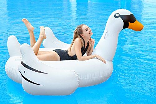 Bramble cigno bianco gonfiabile di grandi dimensioni - divertente materassino giocattolo - ideale per la spiaggia e la piscina - dai 6 anni in su