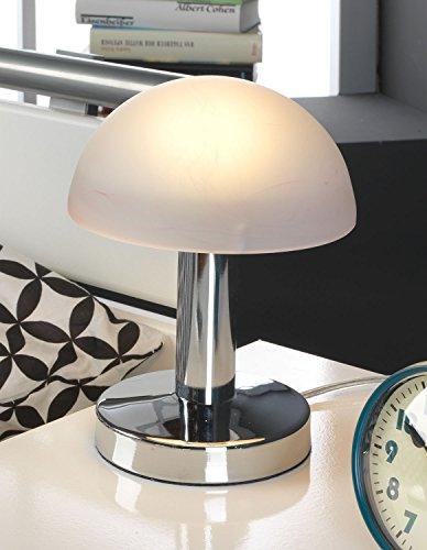 Nachttischlampe Tischleuchte Tischlampe | Nickel | Glas | Lila | Touch Me Touchfunktion