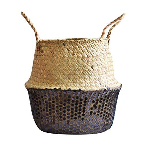 TAOtTAO Flower Basket Seegras-Weidenkorb-Weidenkorb-Blumen-Topf-faltender Korb-schmutziger Korb (Schwarz A)