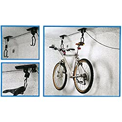 Pygex (TM) de pared del estante de la bici de la bicicleta de pared colgante gancho de la exhibiciš®n del estante del soporte de la bicicleta de la bici de elevaciš®n montado techo del alzamiento de la suspensiš®n de almacenamiento en rack Polea