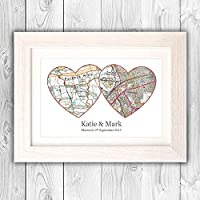 Anniversary present/Personalised print wedding gift/couples OS map gift VA059
