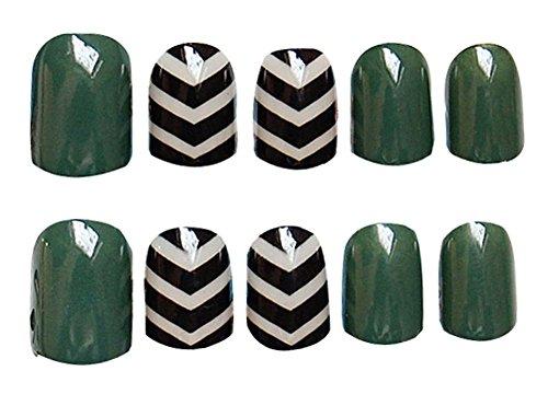 2 Boîtes(48Pièces) Classique style faux ongle/Élégant faux ongle, vert foncé
