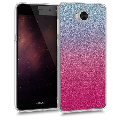 kwmobile Huawei Y6 (2017) Hülle - Handyhülle für Huawei Y6 (2017) - Handy Case in Pink Silber Hellblau
