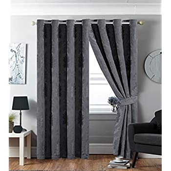 Grey stripe eyelet curtains 90 x 72 montana living room for Living room curtains 90x90
