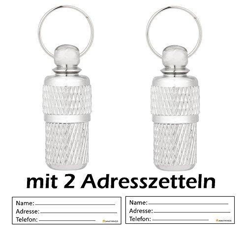 amathings 2 Stück ! (Doppelpack) Adressanhänger Geriffelt in Silber 2,5 cm Länge Für Hunde und Katzen mit Adressetiketten/Wasserdicht / Pillendose/Adresshülse