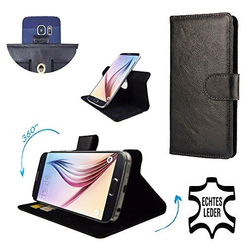 Premium Echtleder für - HTC One Max - Smartphone Schutzhülle mit Dreh und Standfunktion 360° Leder Schwarz XL *New size
