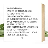 Wunderpixel® Holzbild Toiletten-Regeln - 15x15x2cm zum Hinstellen/Aufhängen, echter Fotodruck mit Spruch auf Holz - schwarz-weißes Wand-Bild Aufsteller zur Dekoration Zuhause oder als Geschenk