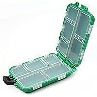 Estuche Caja Plástico con 10 Compartimentos para Pesca Anzuelo Señuelo Cebos