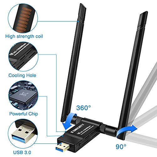 sumgott Adaptador WiFi USB AC 1200Mbps Antena WiFi Doble Banda 5GHz/867Mbps 2.4GHz/300Mbps Receptor Inalámbrico 5dBi para PC/Desktop/Laptop/Mac Soporte Windows XP/Vista/7/8/10 Linux Mac OS