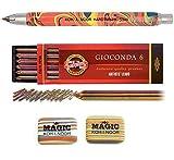 KOH-I-NOOR MAGIC Juego de 5,6mm de diámetro mecánico Embrague Rainbow lápiz portaminas (con sacapuntas + borrador de Pack de 6Gioconda Multicolor Minas + 2
