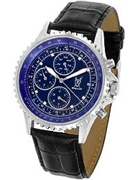 Reloj de Hombre, con Carcasa Plateada, Esfera Azul con Acentos de Diamante y Multi-función Día-Fecha y Correa de Piel de Konigswerk SQ201426G