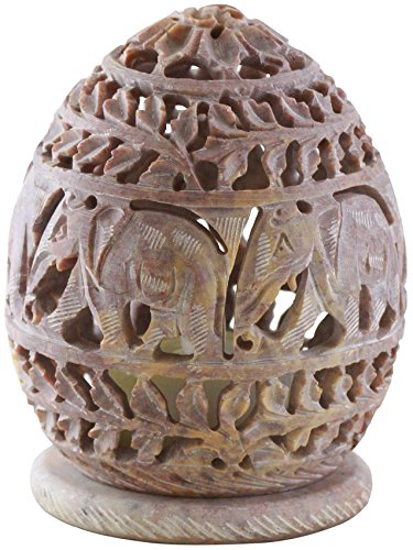 10.2 cm Candle Tealight Holder with Hand Carved Elephant & Tendrils -...