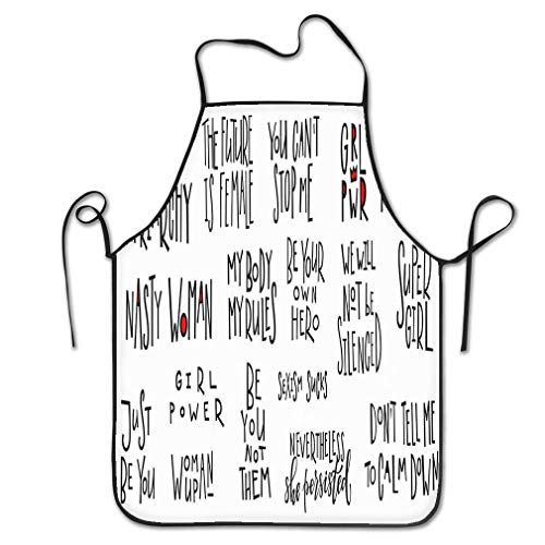 dfhfdsh Delantal de Cocina,Funny Personality Apron Girl Power Quote Lettering Set Girl Power Quote Feminist Lettering Calligraphy Inspiration Graphic Chef Kitchen Aprons Waiter Apron