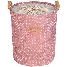 Cesta de lavandería redonda de Kernorv, plegable, de algodón, con estampado de lunares. Puede usarse como cesta de almacenamiento para ropa sucia o para los juguetes de los niños, rosa