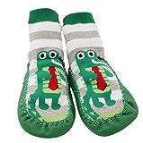 Baby Kleinkinder Kinder Innen Pantoffel Schuh Socken Mokassins RUTSCHFEST GRÜN GRAUE STREIFEN KROKODIL - Alter 1-2 (Sohlenlänge 14cm)