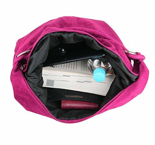 OBC Made in Italy Donna XXL Borsa in pelle Pelle Camoscio Borsa Shopper Borsa A Tracolla Hobo-Bag Borsa marsupio - Rosso (Pelle - 47x35x16 cm), in vielen Größen verfügbar rosa