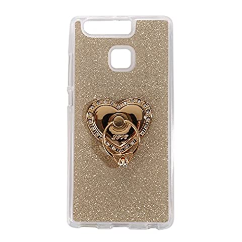 Forepin® Glitter Étui Coque de Protection pour Huawei P9 Ultra Mince Flexible TPU Bling Diamant Couverture Housse Cristal Souple Brillant Luxe Gel Bumper Case avec 360 Degrés Rotating Ring Holder - Or