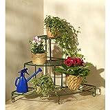 Wenko 5857040500 Blumen Treppe, Blumenbank, Metall Eisen, 61 x 59 x 61 cm, grün