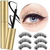 Lcat Magnetische Wimpern Eyeliner, Magnetische Wimpern, Magnetic Eyeliner, Magnetischer Eyeliner Eyelashes Kit Wasserdichter, 3 Pair 3D Wimpern Natürliche Look Mit Magnetic Eyeliner
