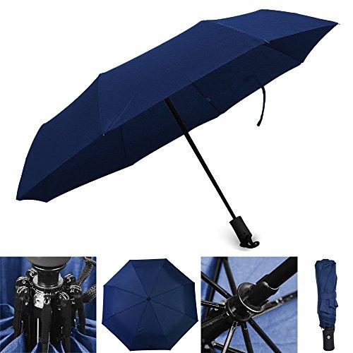 Automatischer Regenschirm Reiseschirm Geschäftsregenschirm Taschenschirm, Wasserdichter Schirm leicht kompakt stabil mit voll-automatischer Auf-Zu-Automatik, blau
