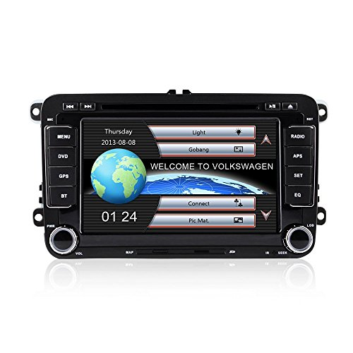 Freeauto Universal Auto 7 Zoll 1080p HD DVD Player GPS Navigation Bluetooth Auto Radio 2 Din in Dash Car PC Stereo Head Unit für VW Volkswagen + Stadtplan + kostenlose Karte (Dash In Dvd-player Bluetooth)