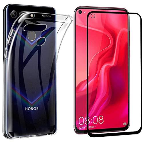 MYLBOO Honor View 20 Hülle mit Displayschutzfolie,[2 in 1] Transparent Weich TPU Handytasche + [HD Ultra] [Anti-Scratch] 9H Gehärtetes Glas voller Displayschutzfolie Für Huawei Honor View 20