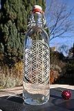 Freiglas 1,0l Trinkflasche aus Glas *Blume des Lebens* 100% plastikfrei, Nachhaltig, Made in Freiburg