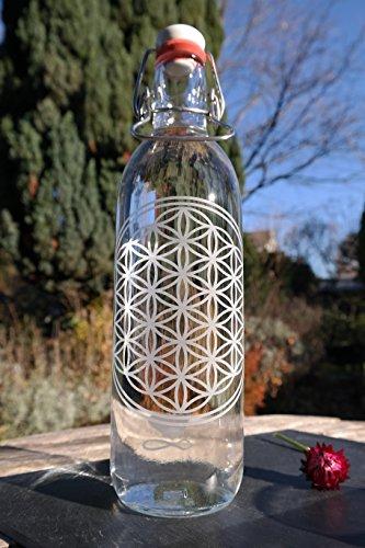 Freiglas 1,0l Trinkflasche aus Glas *Blume des Lebens* 100{bd9ed6c10b16818c3dc328ce98ac98e8aeb7f060ae4935c8ac4c6ae597cc4e56} plastikfrei, Nachhaltig, Made in Freiburg