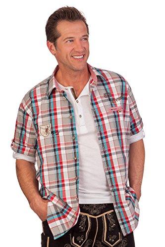 H1424 - Trachten Herren Hemd mit 1/2 Arm - dunkelrot, Größe 39/40 (M)