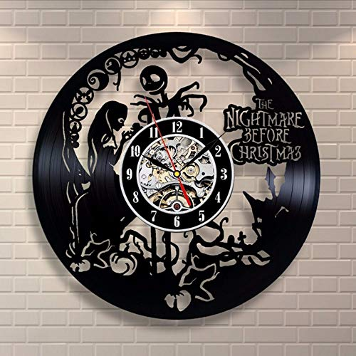 ttymei Vinilo Reloj de Pared Diseño Moderno Salón Decoración Pesadilla Antes de Navidad Reloj Colgante Reloj de Pared Decoración para el Hogar Silencioso