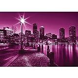 Vlies Fototapete PREMIUM PLUS Wand Foto Tapete Wand Bild Vliestapete - Laterne Nacht New York Skyline Lichter Fluss - no. 857, Größe:350x245cm Vlies