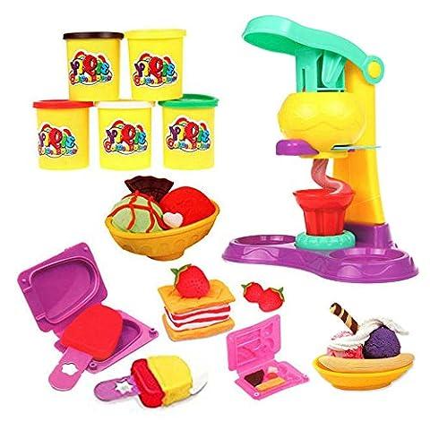 OneCreation Plasticine Modellierung Lehm DIY Eiscreme Doppel Twister, Essen und Obst Schimmel Spiel Kit DIY Spielzeug