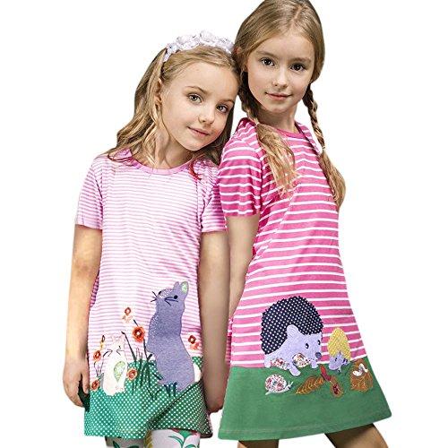 Frühling Sommer bunt Pferd drucken Kleid Mädchen gestreift Kurze Ärmel Kleider Baby niedlich Mode süße Kleidung Heligen Baby Mädchen Prinzessin Kleid Mädchen mit Streifen Crewneck Kleid