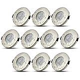 LED IP44 Badezimmer Einbaustrahler Inkl. 10 x 5W Leuchtmittel Neutralweiß 230V GU10 LED Einbauleuchte Deckenspot Einbauspot
