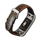 Altsommer Armband für Fitbit charge2 Vintage Leder Vintage Band Strap Edelstahlschließe,Leder Uhrenarmbänder Edelstahl Gürtelschnalle Gearbeitetes Ersetzen für Herren Frauen (Darkbraun)