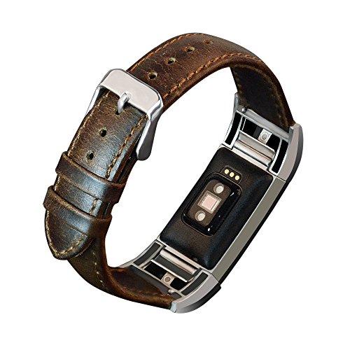 kashyk Armband Für Fitbit charge2 Uhrenarmband, Leder Ersatzband Minimalistisches Design Verstellbares Ersatz Uhren Zubehör Für Smart Fitness-Uhr Für Herren&Damen Prämie Leder Replacement Armbänder