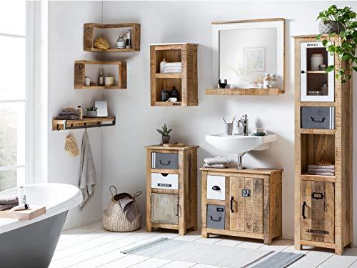Woodkings® Badmöbel Set Pune Holz massiv rustikal Badset mit Hochschrank Badspiegel Waschbeckenunterschrank Hängeschrank Unterschrank 5teilig komplett
