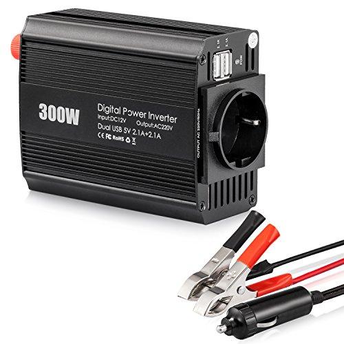 300W Wechselrichter 12V auf 230V mit 2 USB Anschlüsse Eurosteckdose Power Inverter für Auto 300W, mit Doppel 2.1A USB Anschlüsse für Laptop, Tablet, Smartphone und elektronische Geräte