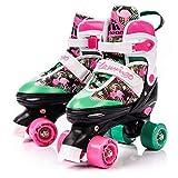 Pattini da discoteca Pattini da skate roller in Parallel 4 ruote Pattini da pattinaggio in quad per bambini Adolescenti e adulti Taglia regolabile (S 31-34, Flamingo)