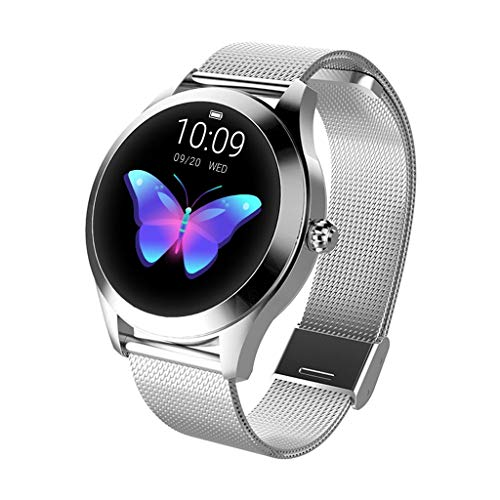 Damen Smart Watch KW10,Colorful IP68 Fitness Tracker für Frauen,Runder Touchscreen Smartwatch mit Herzfrequenz und Schlaf-Pedometer, Armband für IOS/Android (Silber Edelstahl)