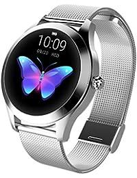 Damen Smart Watch KW10,Colorful IP68 Fitness Tracker für Frauen,Runder Touchscreen Smartwatch mit Herzfrequenz und Schlaf-Pedometer, Armband für IOS/Android