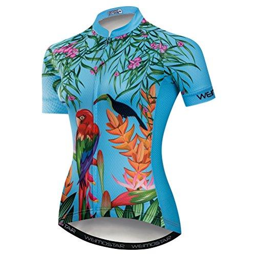 Weimostar Radfahren Jersey Frauen Mountainbike Jersey Shirts Kurzarm Rennrad Kleidung aus Tür Sport MTB Kleidung Sommer tragen Blau Größe XL
