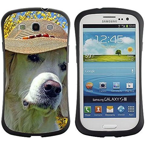 Super Galaxy iFace Slim Fit Seriesdual Layer Rigida Protettiva Custodia Case // V00003514 labrador che porta il cappello spiaggia // Samsung Galaxy S3 S III SIII