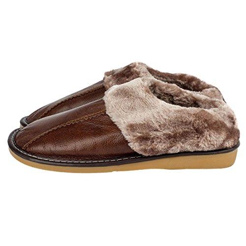 Haisum Uomo Inverno Morbido Caldo Antiscivolo In Pelle Pantofole per da letto Vivere camera Ufficio Appartamento Ciabatte Light Brown
