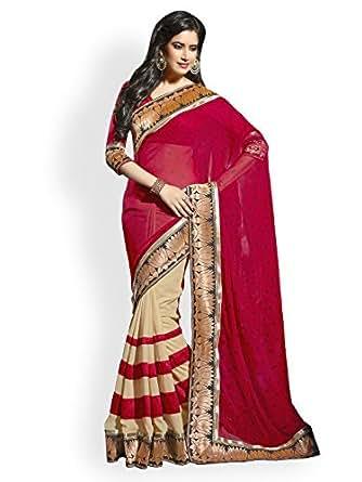 Janasya Chiffon Saree (Jne0182.N_Colour-Red)