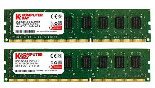 Komputerbay 16GB (2X8GB) 1333MHz DDR3 DIMM 240-Pin PC3-10600 PC3-10666 RAM Desktop-Speicher Dual Channel KIT 9-9-9-25 (Speicher Desktop Ddr3 1333)