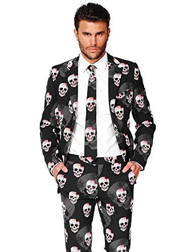 Opposuits OSUI-0035-EU54 - Skulleton - Halloween Kostüm, Schädel Anzug, Größe 54, Mehrfarbig