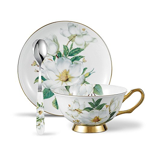 Panbado Floral Kaffeetassen aus Premium Bone China Porzellan, Beinhaltet 1 Tassen 200 ml, 1 Untertassen, und 1 Löffel - China Untertasse