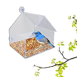 PetsNall Clear Window Squirrel-Proof, Rain-Resistant, Songbird House Bird Feeder